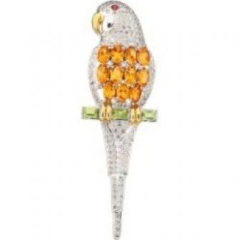 14K White Gold, Diamond & Multi-Gemstone Parrot Brooch