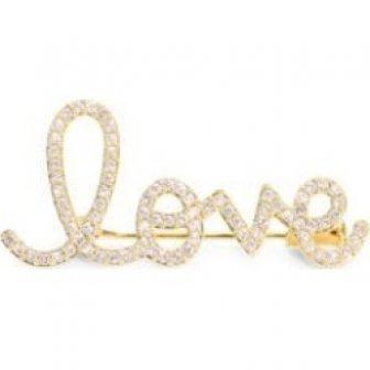 14K Yellow Gold & Diamond Love Script Brooch