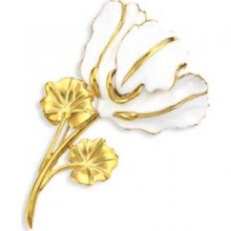 22K Goldplated & Enamel Flower Brooch