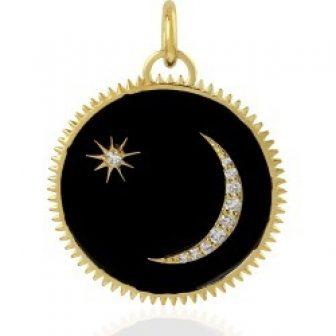 Artisan - 14Kt Yellow Gold Star & Moon Circle Charm Pendant Diamond...