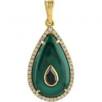 Artisan - Pendant Malachite Diamond 18K Yellow Gold Jewelry