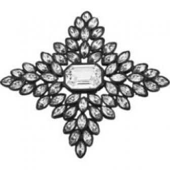 Black Line Crystal Cruciform Brooch