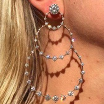 Bling Bling Round Hoop Diamante Earrings