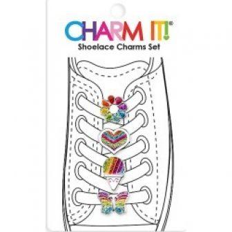Charm It! Rainbow Four-Piece Shoelace Charm Set