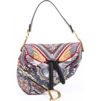 Christian Dior 2019 Embroidered Butterfly Saddle Bag Multicolor SZ: M