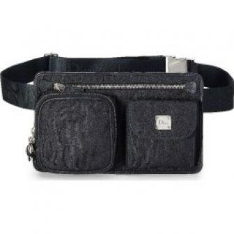 Christian Dior Black Diorissimo Canvas Belt Bag