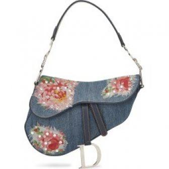 Christian Dior Blue Denim Floral Saddle Bag