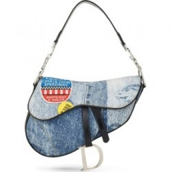 Christian Dior Blue Denim Trompe L'oeil 'Speedway' Saddle Bag In Brown