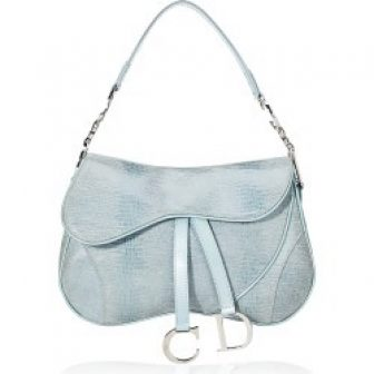 Christian Dior Blue Embossed Suede Double Saddle Bag