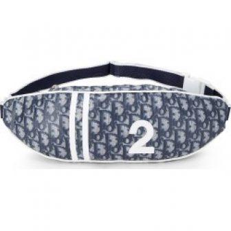 Christian Dior Navy Trotter Nylon Belt Bag In Blue
