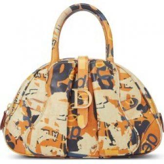 Christian Dior Orange Leather Saddle Bowler Bag