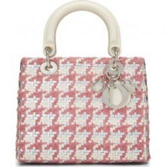Christian Dior Pink Woven Leather Lady Dior Bag Medium
