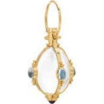 Classic Rock Crystal, Royal Blue Moonstone & 18K Yellow Gold Charm