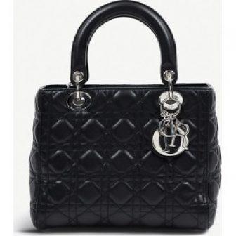 Dior black leather Lady Dior bag
