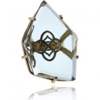 Georgina Jewelry - Gold Signature Asymmetric Flower Crystal Ring