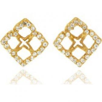 Georgina Jewelry - Gold Signature Mini Flower Diamond Earrings
