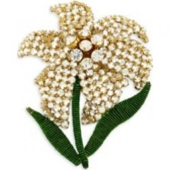 Iris 18K Goldplated Beaded Hand-Embroidered Brooch