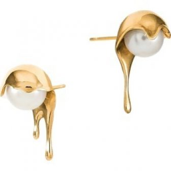 MARIE JUNE Jewelry - Melting White Pearl Gold Earrings
