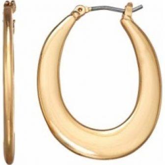 Napier Gold Tone Flat Nickel Free Hoop Earrings, Women's