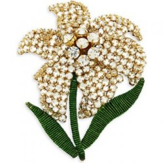 Rebecca de Ravenel Women's Iris 18K Goldplated Beaded Hand-Embroidered Brooch