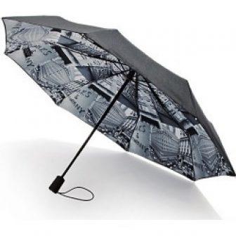 Saks Fifth Avenue Women's Saks-Printed Lining Umbrella - Grey