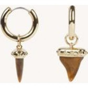 Studded Shark-Tooth Huggie Hoop