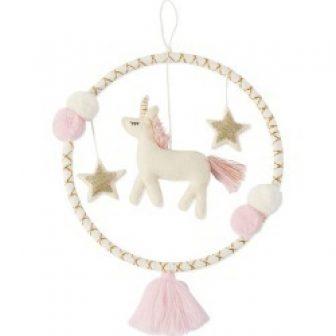 Unicorn Tassel Wall Hoop, Cream