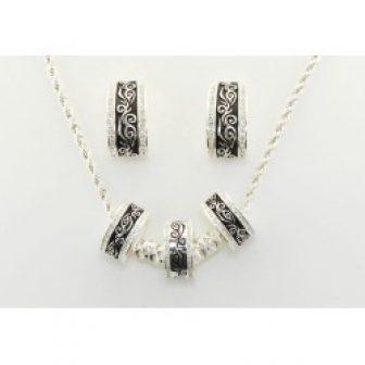 Western Edge Jewelry 3 Ring Filigree Crystal Jewelry Set