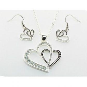 Western Edge Jewelry Double Heart Jewelry Set