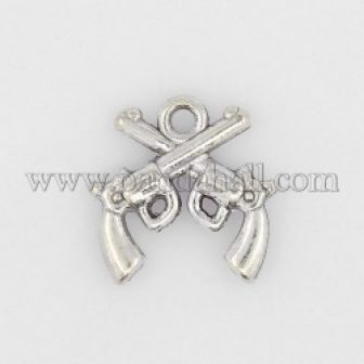 Zinc Alloy DIY Jewelry Pendants, Double Gun Jewelry Charm, Lead Free and...